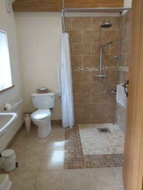 large wet room shower room with WC, sink and grab rails
