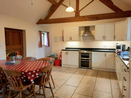 large kitchen/diner area of Old Shippon holiday cottage