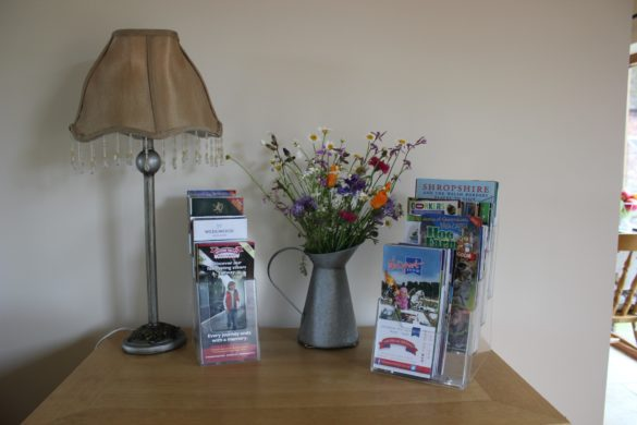 information leaflets of local area, flowers and lamp