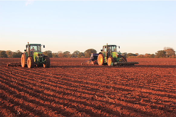 Tractors Ploughing Field